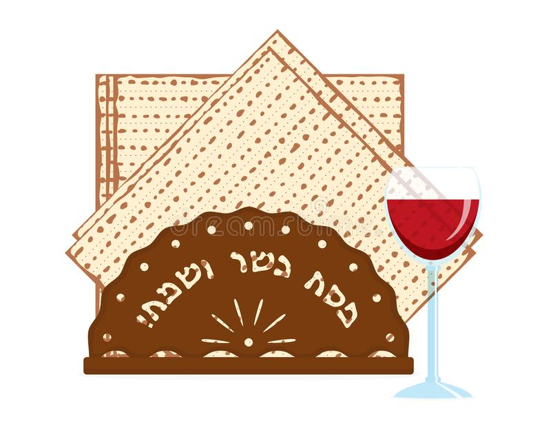 Jewish Passover, matzah and wine cup. Jewish holiday of Passover, matzah or matzo - unleavened bread for Pesach and wine cup, greeting inscription hebrew on stock illustration