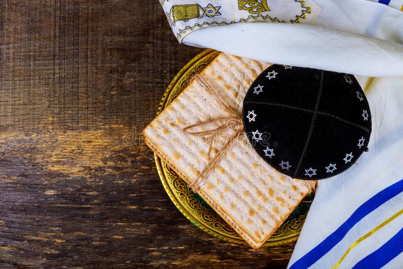 Jewish holiday passover matzot with seder on plate on table close up royalty free stock photos