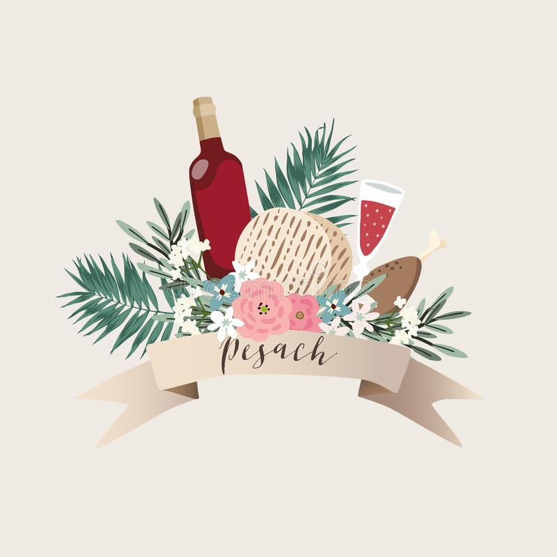 Jewish holiday Pesach, Passover greeting card. Hand drawn ribbon banner with bottle of wine, matzo bread, palm leaves. Olive branches and flowers, kosher food royalty free illustration