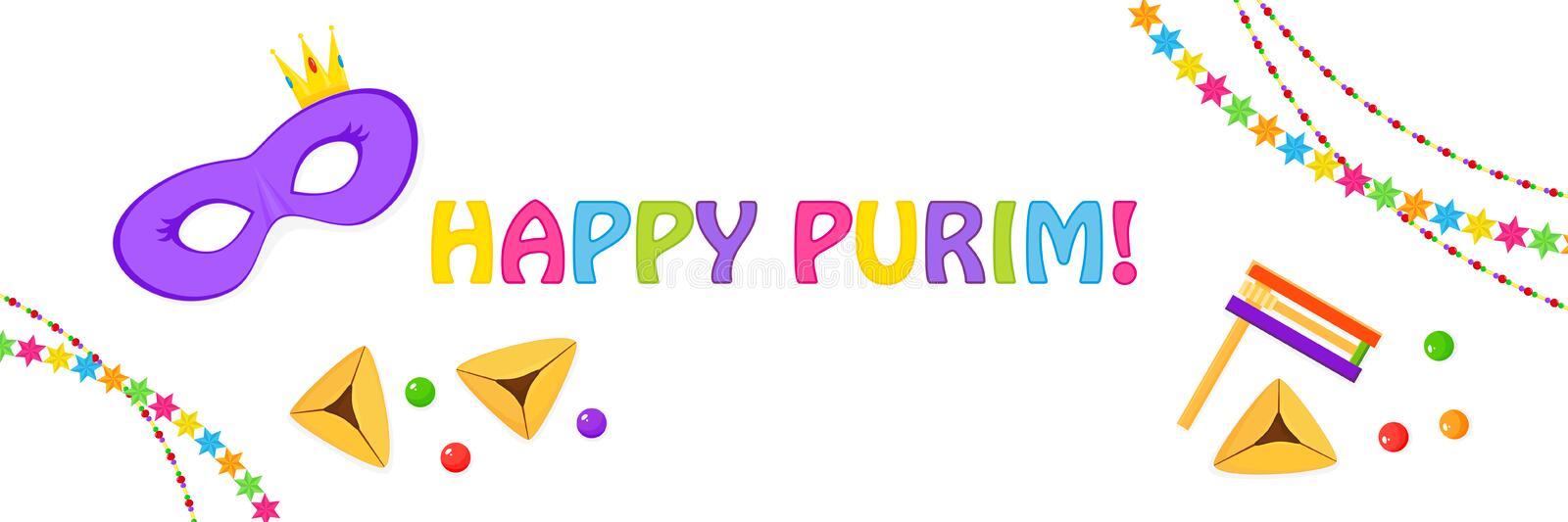 Jewish holiday of Purim, greeting banner. Jewish holiday of Purim, banner with mask, traditional hamantaschen cookies, gragger noise maker, dragee and garlands stock illustration