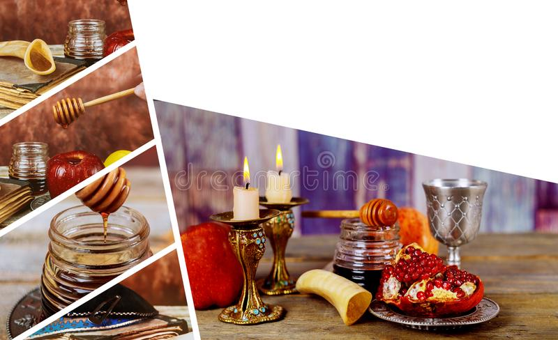 Jewish holiday Rosh Hashana with honey and apples. Shofar and tallit traditional food of jewish New Year celebration royalty free stock images