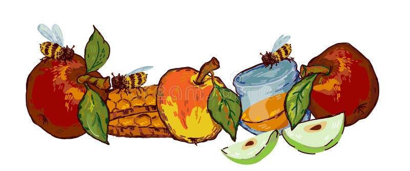 Jewish holiday Rosh Hashanah banner with apples  illustration isolated. Jewish holiday Rosh Hashanah banner template with apples, honey and bees  illustration in royalty free illustration