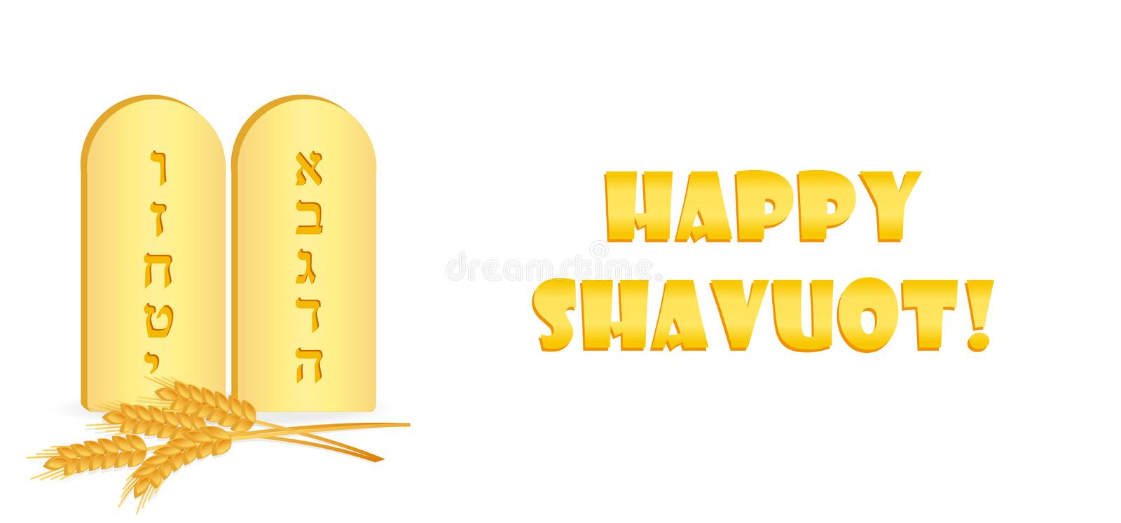 Jewish holiday of Shavuot, greeting banner. Jewish holiday of Shavuot, banner with Tablets of Stone with first ten letters of the Hebrew alphabet, wheat ears vector illustration