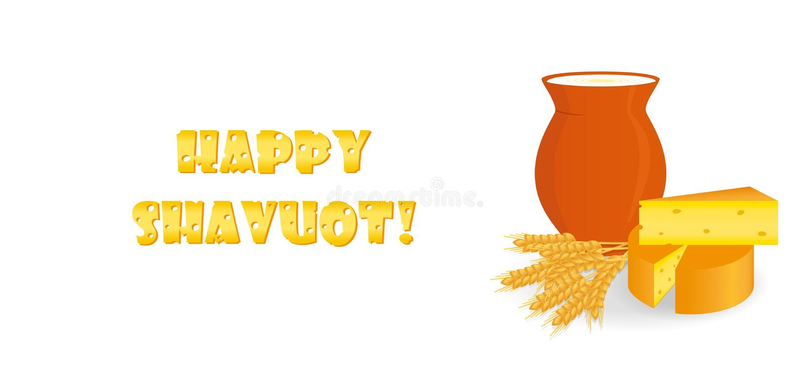 Jewish holiday of Shavuot, greeting banner. Jewish holiday of Shavuot, banner with milk jug, cheese and wheat ears, cheese letters, greeting inscription - Happy stock illustration