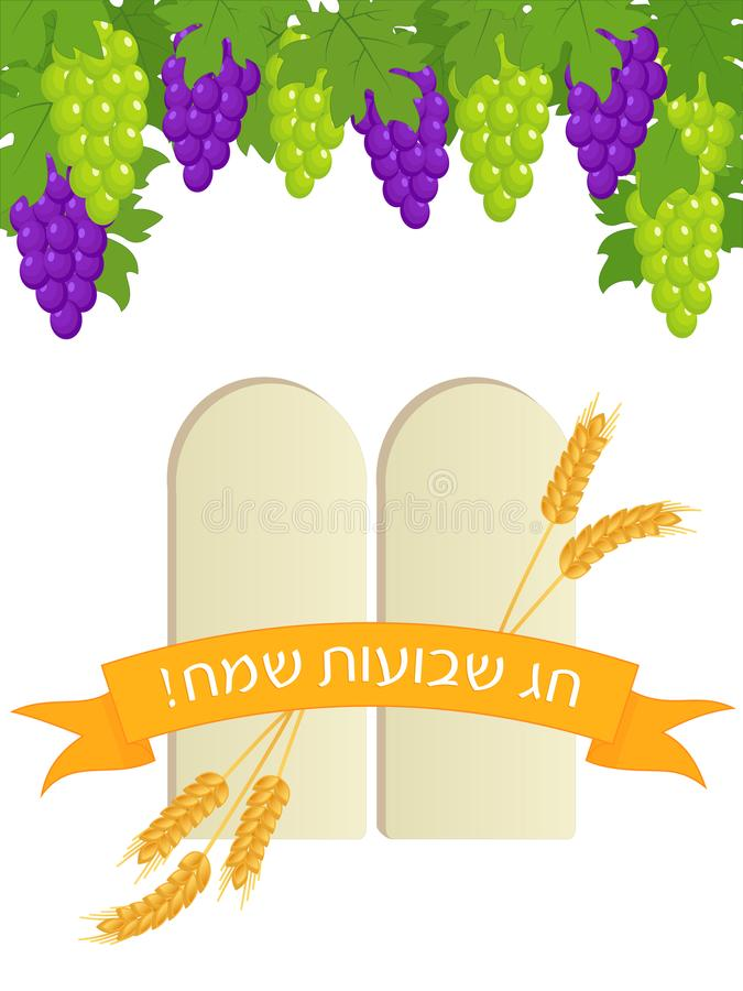 Jewish holiday of Shavuot, stone tablets and grape vector illustration