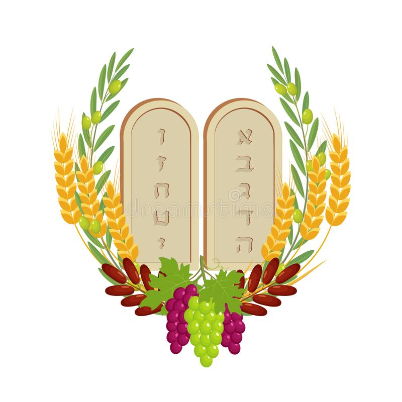 Shavuot, tablets of stone and fruits royalty free illustration