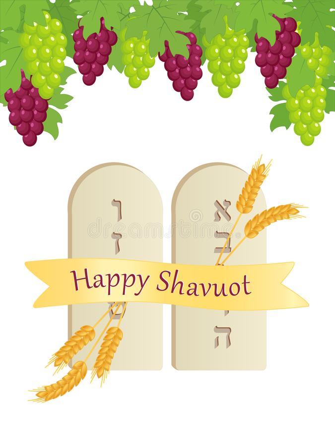 Shavuot, tablets of stone, grape clusters vector illustration