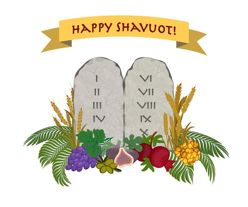 Jewish holiday of Shavuot, tablets of stone and Seven species royalty free illustration
