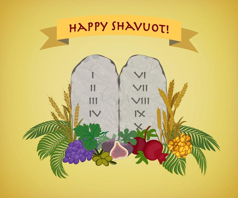 Jewish holiday of Shavuot, tablets of stone and Seven species stock illustration