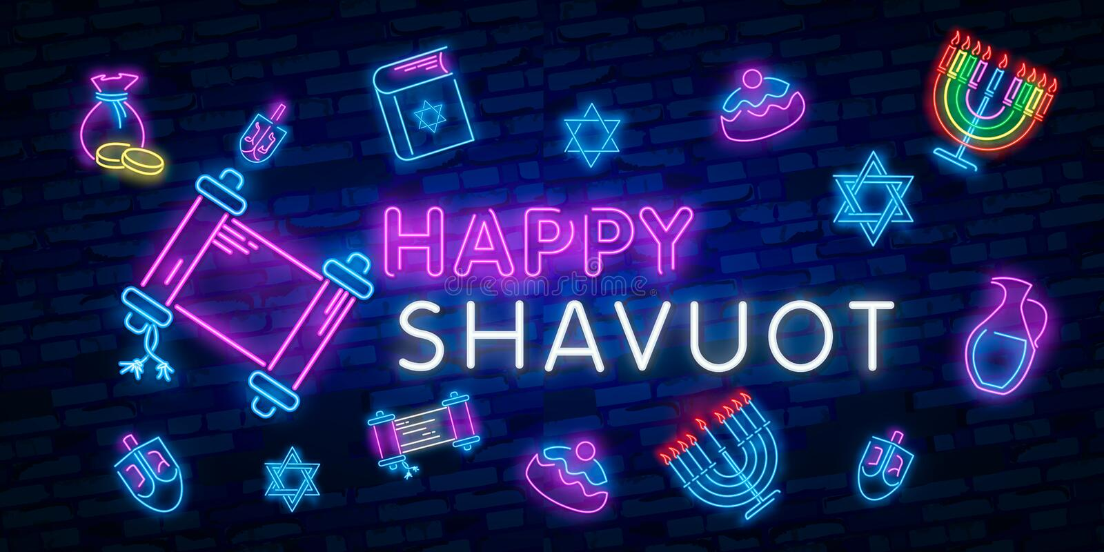 Jewish holiday of Shavuot. Vector set of realistic isolated neon sign of Shavuot Jewish holiday logo for template vector illustration