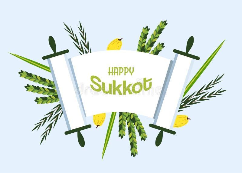 Jewish holiday Sukkot. torah with Lulav, ,Etrog, Arava and Hadas. Four species symbols date palm, citron, willow, myrtle illustration vector illustration