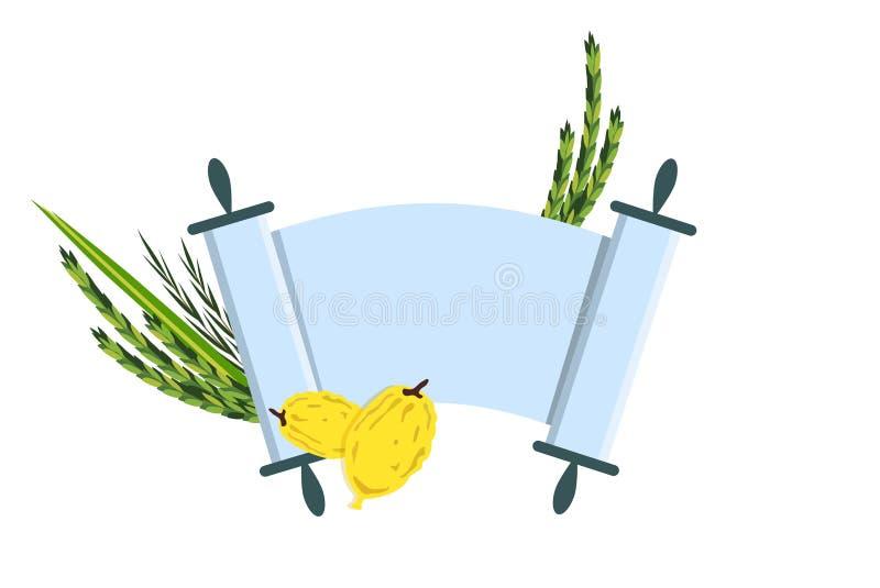 Jewish holiday Sukkot. torah with Lulav. Etrog, Arava and Hadas. Four species symbols date palm, citron, willow, myrtle illustration stock illustration