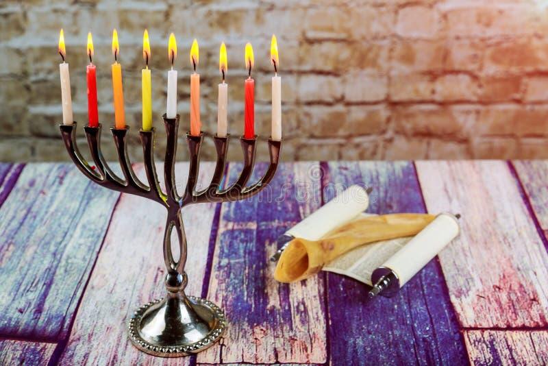 Brightly Glowing Hanukkah Menorah soft focus royalty free stock photography