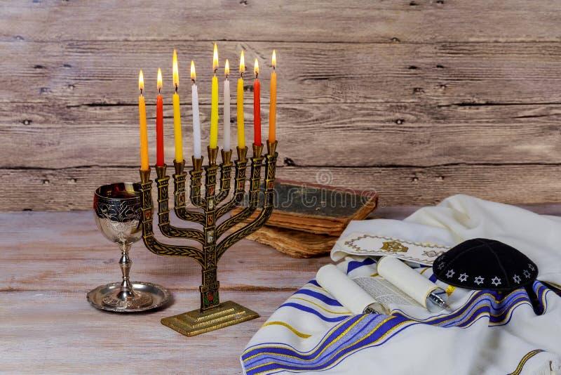 Star of David Hanukkah menorah stock photo