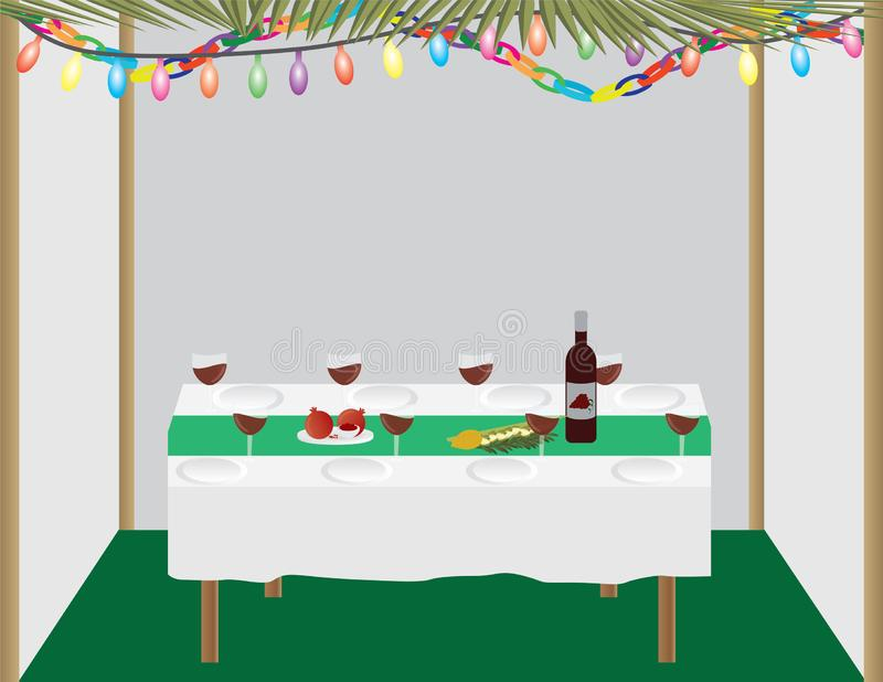 Jewish holiday traditional Sukkah and dinner table royalty free illustration