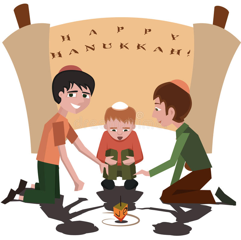 Jewish kids with spinning top, happy hanukkah royalty free illustration