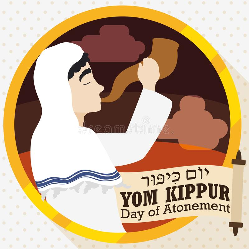 Jewish Man Blowing a Shofar with Scroll for Yom Kippur, Vector Illustration. Poster in flat style and long shadow with Jewish man blowing a Shofar horn next to royalty free illustration