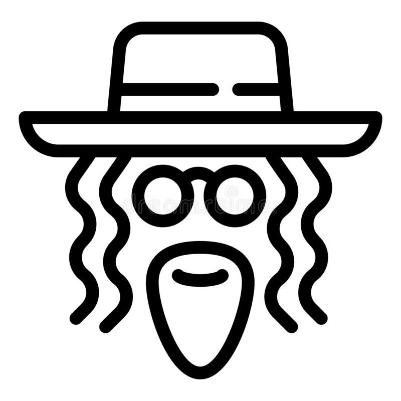 Jewish man face icon, outline style royalty free illustration