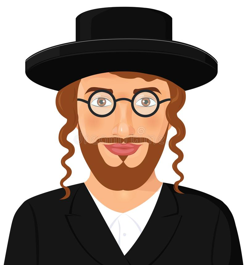 Jewish man face portrait with hat and beard in a black suit. Jerusalem. Israel. Vector Illustration isolated on white background. stock illustration