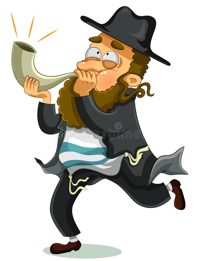 Jewish man with shofar. Orthodox Jewish man with the traditional Shofar royalty free illustration