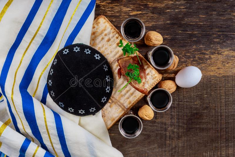 A Jewish Matzah bread with wine. Passover holiday concept. Jewish passover holiday pesah celebration matzah bread with kosher wine judaism unleavened seder royalty free stock image