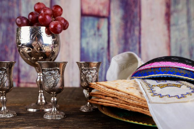 A Jewish Matzah bread with wine. Passover holiday concept. Jewish passover holiday pesah celebration matzah bread with kosher wine judaism unleavened seder stock photo