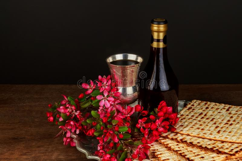 A Jewish Matzah bread with wine. Passover holiday concept. Jewish passover holiday pesah celebration matzah bread with kosher wine judaism unleavened seder royalty free stock photo