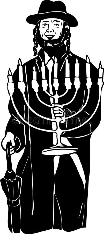 Jewish menorah in hat with hands. A Jewish menorah in hat with hands vector illustration