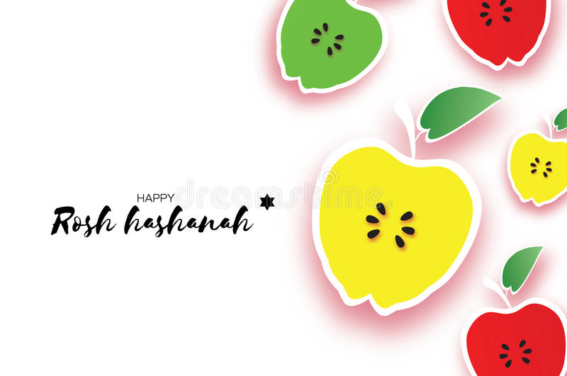 Jewish New Year, Rosh Hashanah. Apple Paper cut style. Holiday. Origami Yellow, Red, Green Fresh Fruits with leaves royalty free illustration