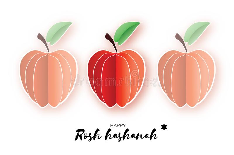 Jewish New Year, Rosh Hashanah. Apple Paper cut style. Holiday. Vector. Jewish New Year Greeting card, Rosh Hashanah. Apple in paper cut style. Origami happy vector illustration
