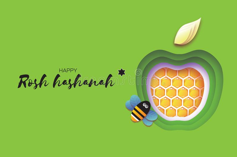 Jewish New Year, Rosh Hashanah. Apple Paper cut style. Holiday. Vector. Jewish New Year, Rosh Hashanah Greeting card. Green Apple shape with honey gold cell and stock illustration