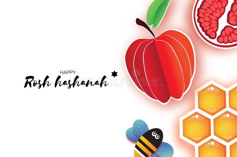 Jewish New Year, Rosh Hashanah. Apple Paper cut style. Holiday. Vector. Red ripe pomegranate and gold honeycomb. Jewish New Year, Rosh Hashanah Greeting card stock illustration