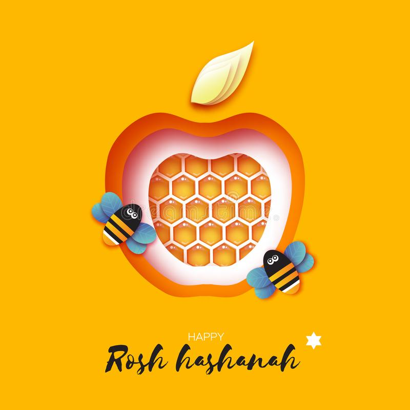 Jewish New Year, Rosh Hashanah Greeting card. Apple shape with honey gold cell and honey bee in paper cut style. Origami stock illustration