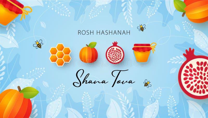Jewish New Year, Rosh Hashanah Greeting card, Holiday banner. Jewish New Year, Rosh Hashanah Greeting card. Vector illustration with Apple, pomegranate, Honey stock illustration