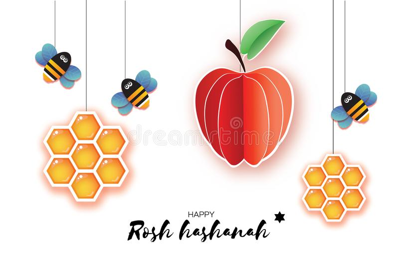 Jewish New Year, Rosh Hashanah Greeting card. Origami Apple with Honey gold cell and Honey Bee in paper cut style. Happy. Holiday in Hebrew. White background stock illustration