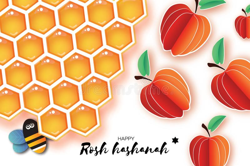 Jewish New Year, Rosh Hashanah Greeting card. Origami Apple with Honey gold cell and Honey Bee in paper cut style. Happy. Holiday in Hebrew. White background vector illustration
