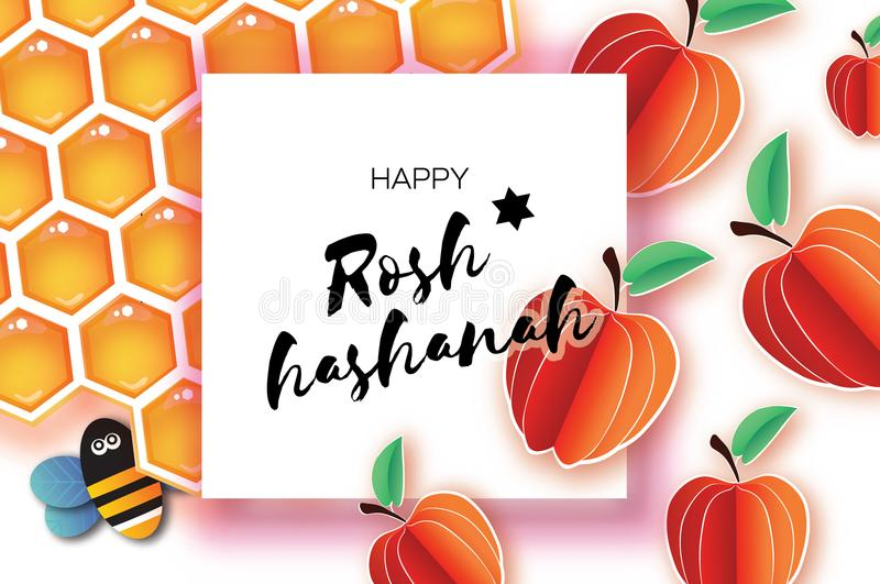 Jewish New Year, Rosh Hashanah Greeting card. Origami Apple with Honey gold cell and Honey Bee in paper cut style. Happy. Holiday in Hebrew. Square frame for stock illustration