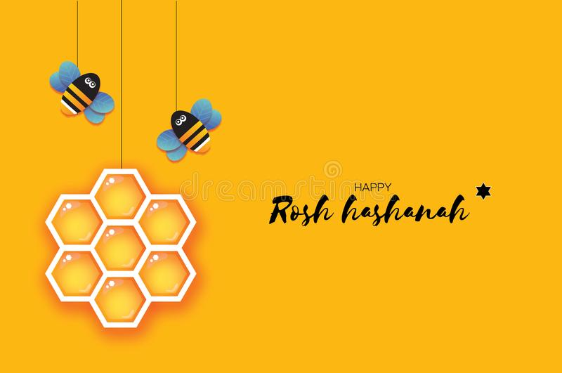 Jewish New Year, Rosh Hashanah Greeting card. Origami Hexagon Honey gold cell and Honey Bee in paper cut style. Happy. Holiday in Hebrew. Yellow background royalty free illustration