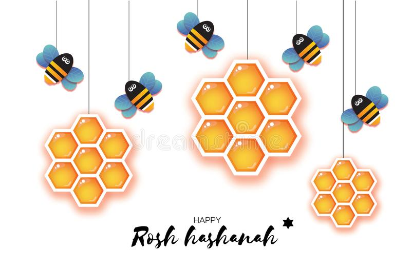 Jewish New Year, Rosh Hashanah Greeting card. Origami Hexagon Honey gold cell and Honey Bee in paper cut style. Happy. Holiday in Hebrew. White background stock illustration