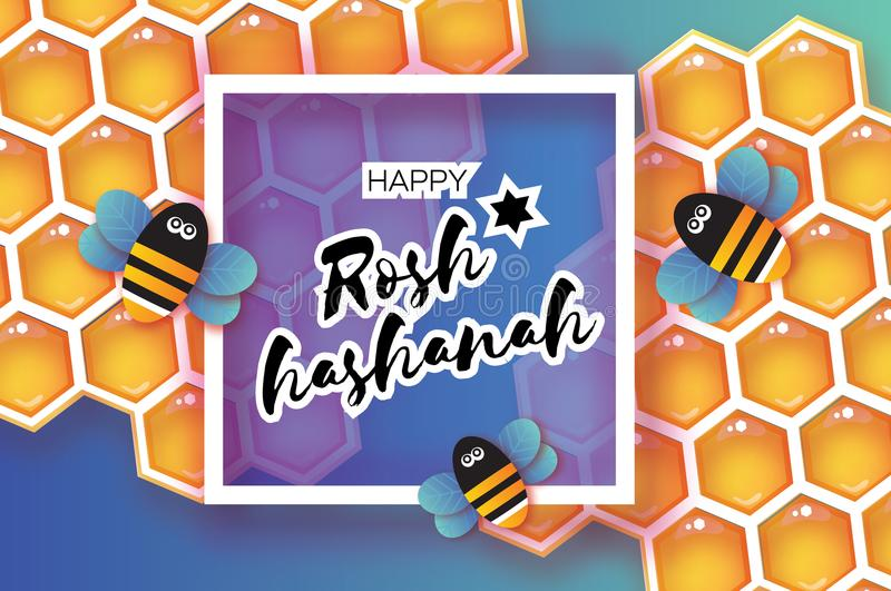 Jewish New Year, Rosh Hashanah Greeting card. Origami Honey gold cell and Honey Bee in paper cut style. Happy holiday in. Hebrew. Square frame for text. Blue stock illustration