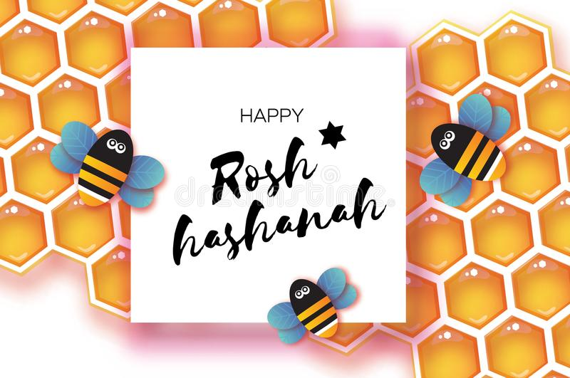 Jewish New Year, Rosh Hashanah Greeting card. Origami Honey gold cell and Honey Bee in paper cut style. Happy holiday in. Hebrew. Square frame for text. White stock illustration