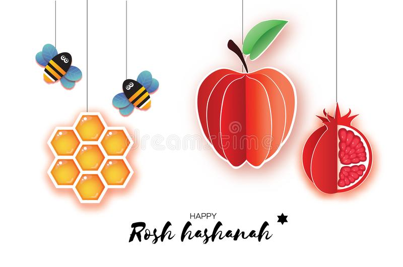 Jewish New Year, Rosh Hashanah Greeting card. Origami Red Apple with and pomegranate, Honeycomb and Honey Bee in paper royalty free illustration