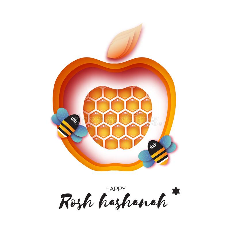 Jewish New Year, Rosh Hashanah Greeting card. Yellow Apple shape with honey gold cell and honey bee in paper cut style. Origami happy holiday in Hebrew. white vector illustration