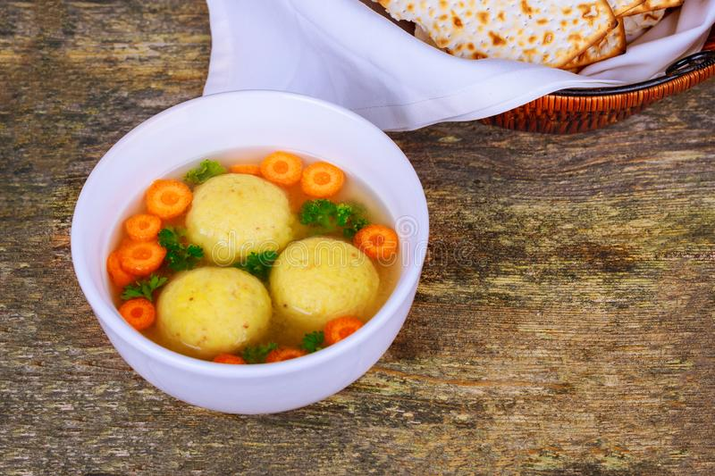 Hot Homemade Matzo Ball Soup in a Bowl Jewish Passover stock photos