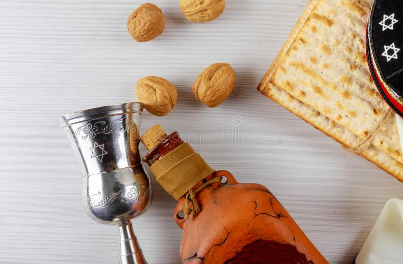 A Jewish Matzah bread with wine. Passover holiday concept stock photo