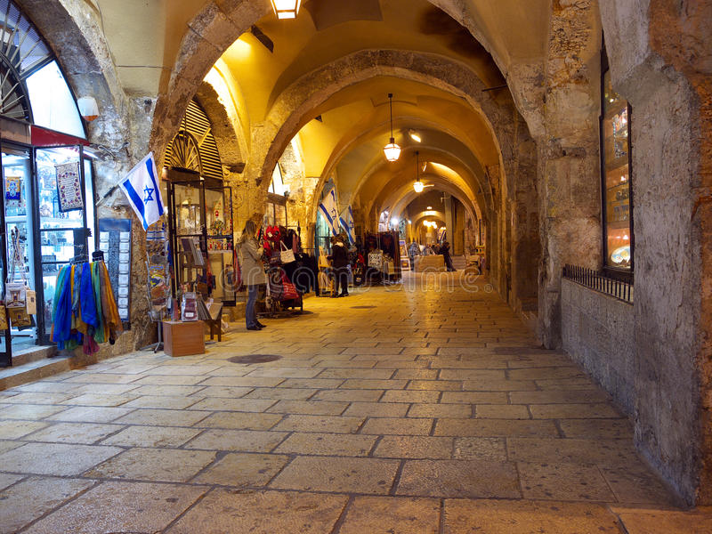 Jewish quarter bazaar in old Jerusalem stock photo