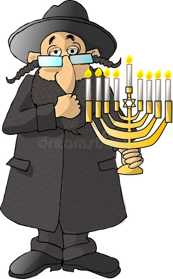Jewish Rabbi. This illustration that I created depicts a Jewish Rabbi holding a menorah vector illustration
