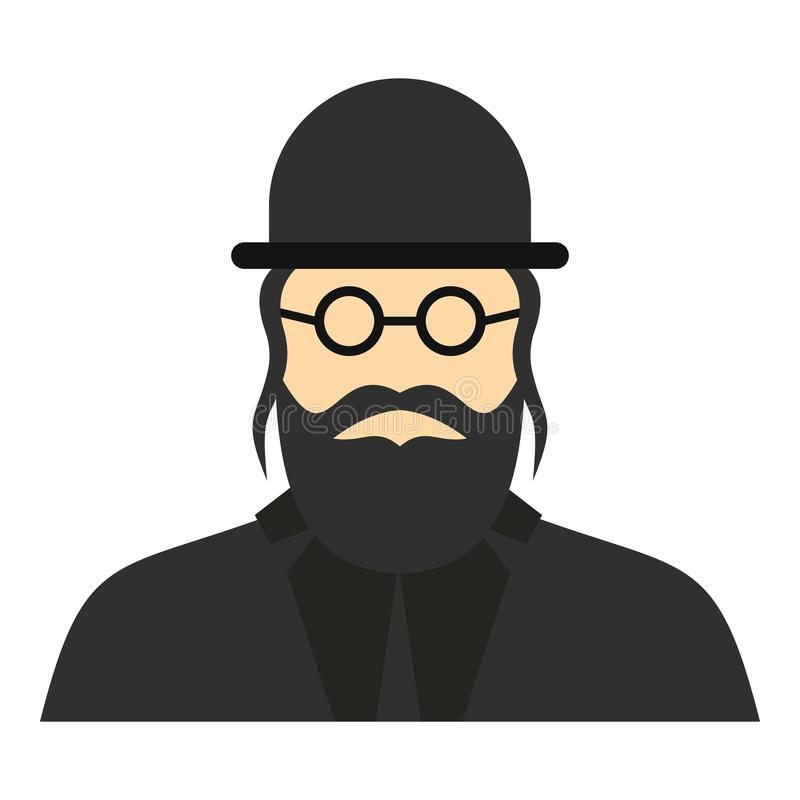 Jewish rabbi icon, flat style. Jewish rabbi icon. Flat illustration of rabbi icon for web design royalty free illustration