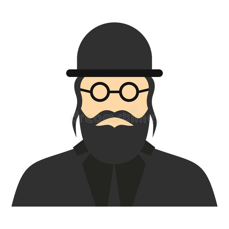 Jewish rabbi icon, flat style. Jewish rabbi icon. Flat illustration of rabbi icon for web design stock illustration