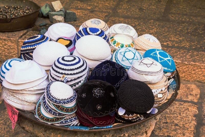 Jewish religious caps (yarmulke) on the market in Jerusalem royalty free stock photo